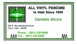 All Vinyl Fence Bus Card