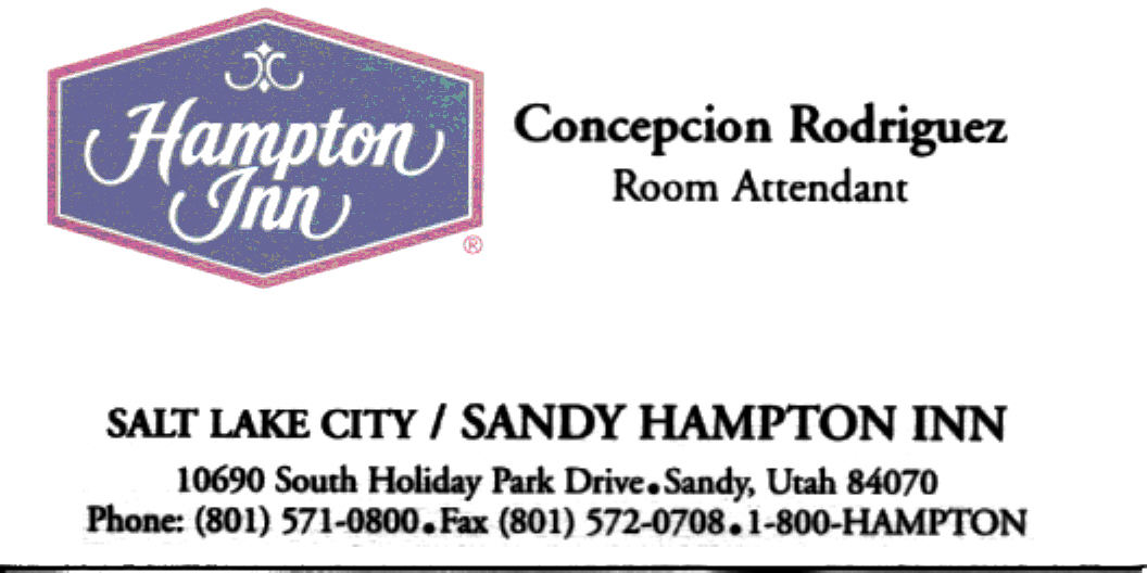 Hampton Inn Bus Card 1